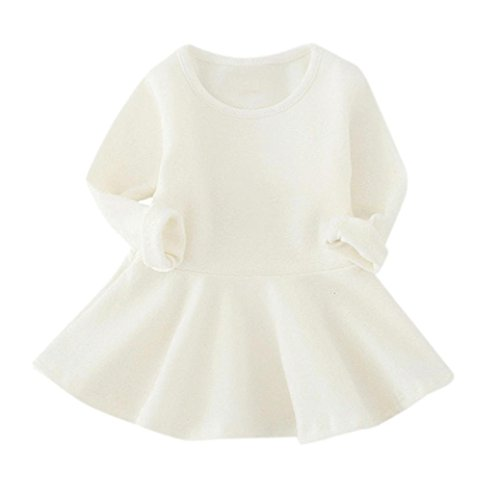 r Party★Mädchen Baumwolle Pure Farbe Gefaltetes Prinzessin Kleider★Newborn Baby Langarm Weihnachten Geburtstag (5 Jahre alt, Weiß) (Windel-partei-ideen)