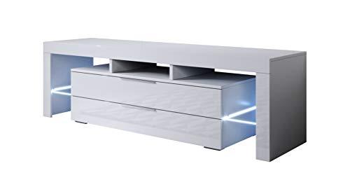 muebles bonitos - Mueble TV Modelo Selma (160x53cm) Color Blanco con LED RGB