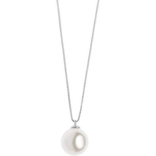 Collana donna di comete in oro bianco con perla classico cod. glp 565
