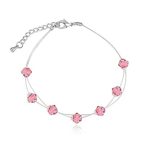 Aooaz Damen Versilbert Armbands Blumen Weiß Kristall Extender Kette CZ Armreif Hochzeit Armband
