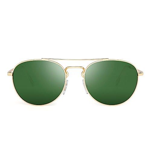 JIM HALO Klassisch Runden Flieger Sonnenbrille Premium Glas Linse Flach Metall Gläser Damen Herren(Gold/Grün)