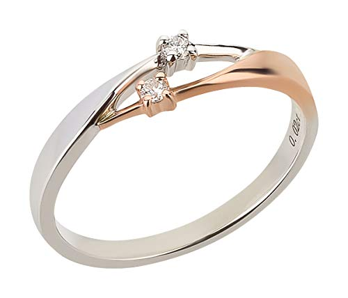 Ardeo Aurum Damenring aus 375 Gold bicolor Weißgold Rosegold mit 0,04 ct Diamant Brillant Verlobungsring (2 Karat Diamant Solitaire Ring)
