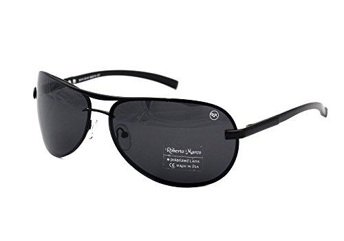 Roberto Marco Polarized Sunglasses for Drivers Semi Dark Grey Lenses. Aviator Design - No Glare