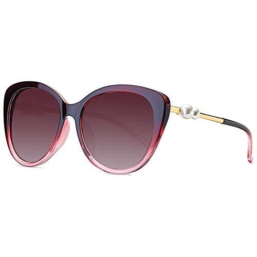 Easy Go Shopping Brille Katzentyp Fashion Brille UV Cut Lightweight Cross & Brillenetui Sonnenbrillen Sonnenbrillen und Flacher Spiegel (Color : Rot, Size : Kostenlos)