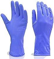 DeoDap Cleaning Gloves Reusable Rubber Hand Gloves, Stretchable Gloves for Washing Cleaning Kitchen Garden (Bl