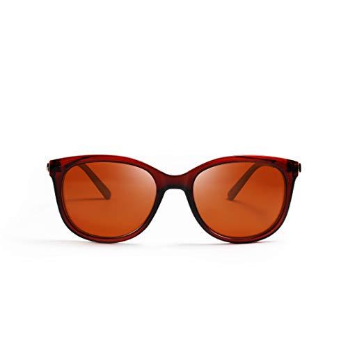 kimorn polarisiert Sonnenbrillen für Frauen Groß Cateye Metall Temple Classic K0654 (Dunkel braun)