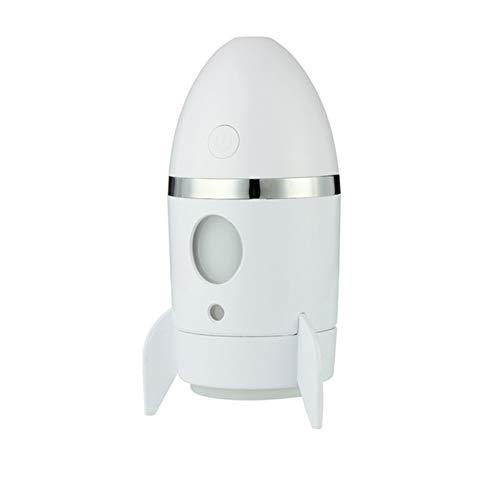 Mini USB Cohete humidificador 135ml Dormitorio de Estudiantes Oficina Escritorio Mute Coche humidificador Mist Maker hogar Mesa purificador de Aire,White