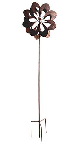 HAFIX Windrad Metall Blumenmuster Windspiel Metallwindrad Gartendeko rund Wind Mühle mit Erdspieß - 2