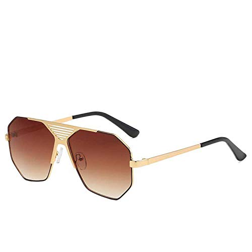 Fashion Classic Männer Polygon Sonnenbrille Retro- Frauen-Metallhöhle große Feld-Sun-Glas-Gradient Brillen, 3