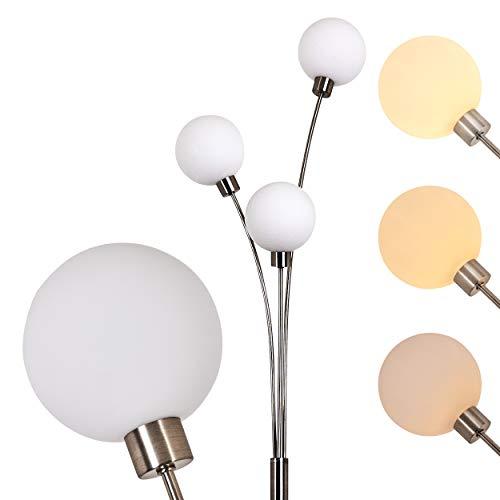 Stehlampe Bernado 3-flammig dimmbar - Deckenfluter mit 3 Echtglaskugeln - G9-Fassung 28 Watt - moderne Standleuchte Wohnzimmer - indirektes, warmweißes Licht - Stehleuchte Wohnzimmer mit 3 Glaskugeln - Moderne Deckenfluter Ist