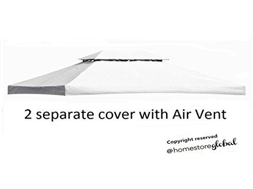 HomeStore Global, Toldo de repuesto para 4M x glorieta 3M con la salida de aire - 2 piezas de la cubierta separadas para los dos niveles quiosco de (color blanco)