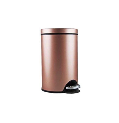 LyMei Mülleimer mit Schritt Fußpedal Edelstahl Weich und Leise Offen und Nah, Home Creative 5L Abfallbehälter,Pink_21*26cm