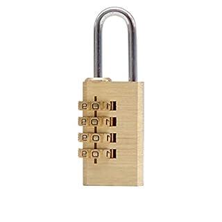 TPulling 4-stellige Kombination Kennwortsperre Zink-Legierung Sicherheitsschloss for Koffer Vorhängeschloss (Gold, Einheitsgröße)