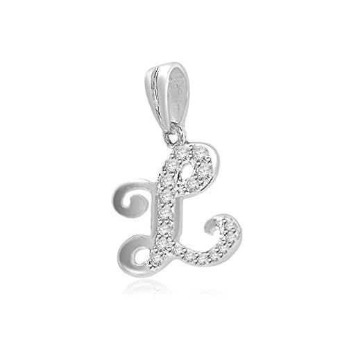 0.05ct F/VS1 L' Buchstabe Diamant Anhänger für Damen mit runden Brillantschliff diamanten in 18kt (750) Weißgold mit Halsband