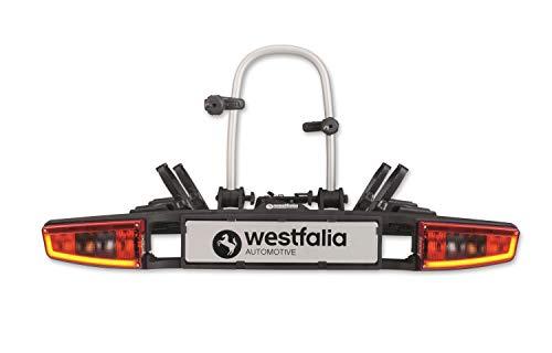 Westfalia bikelander Premium Fahrradträger für Anhängerkupplung - LED-Hybrid-Leuchten - Zusammenklappbarer Kupplungsträger für 2 Fahrräder - E-Bike geeignet - Bis zu 60kg Zuladung