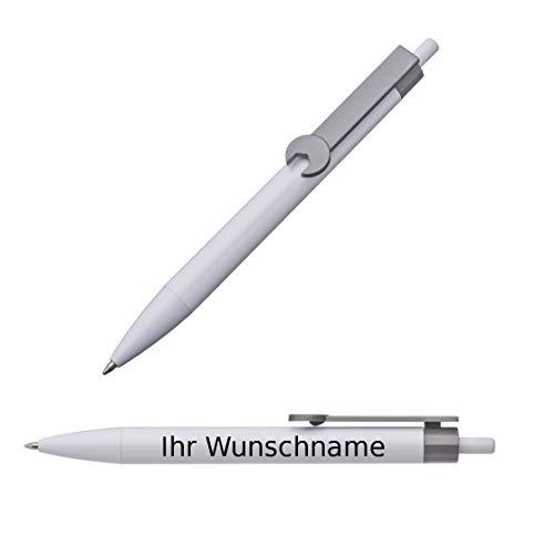 """100x Druckkugelschreiber mit Gravur / \""""Schraubenschlüssel\"""" / Clipfarbe: grau"""