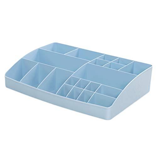 KKY-ENTER Boîte de rangement cosmétique Accueil Bureau Coiffeuse en plastique Table de rouge à lèvres Vernis à ongles Divers Boîte de finition multi-grille ( Couleur : Bleu , taille : 35*24.5*7.9cm )