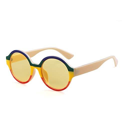 DAIYSNAFDN Runde Sonnenbrille Frauen Mann Designer Mix Farbe Übergroße Gelbe Linse Sonnenbrille C5