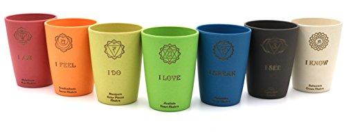 Chakra Trinkbecher 7er Set ✿ 7x nachhaltige 0.3l Yoga Energie Chakren Becher ✿ Spülmaschinengeeignet - ökologisch mit Bambus hergestellt