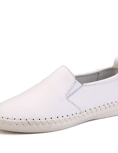 ZQ Scarpe Donna - Mocassini - Ufficio e lavoro / Formale / Casual - Comoda / Punta arrotondata - Piatto - Di pelle - Nero / Bianco , white-us8.5 / eu39 / uk6.5 / cn40 , white-us8.5 / eu39 / uk6.5 / cn white-us6 / eu36 / uk4 / cn36