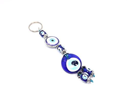 Porte-clés - Mauvais œil Nazar Boncuk - Porte-bonheur - Bleu argent ... 7a0f8c2b14e