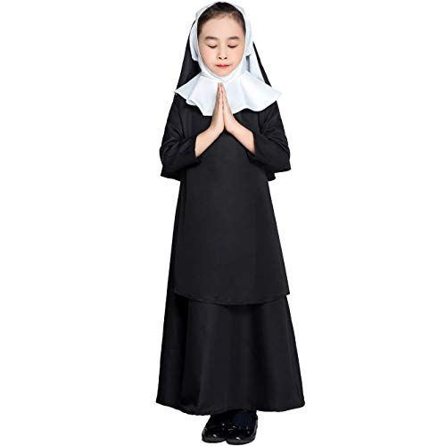 Kinder Nonne Kostüm Schwarz Pastor Cosplay Jesus Christus Missionar Pastor Outfit Halloween Karneval Kostüm Mit Kopfbedeckung,Black,L(125/135cm)