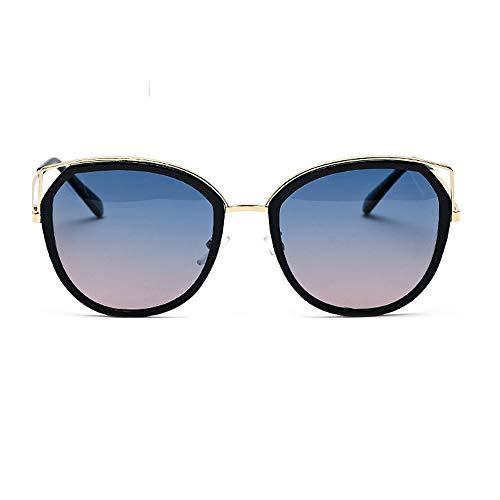 Yiph-Sunglass Sonnenbrillen Mode Übergroße Sonnenbrille Cat Eye Metallrahmen Ms. Men's Driving Fishing Polarized Sonnenbrillen (Farbe : Blau, Größe : Free)