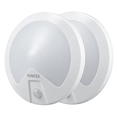 AVANTEK 2-Pack LED Night Light Motion Activated Battery Operated Wall Lights Wireless with Dual Sensor for Stairs Bathroom Hallway - low-cost UK light store.