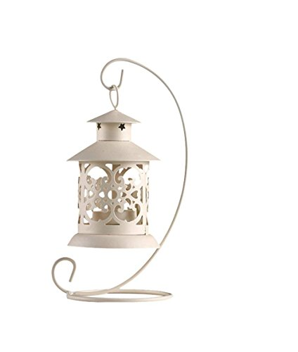 MoGist candeliere Retro scolpito durchb rochene Gazebo tavolo Lanterna ferro in Candelabro Home matrimonio tavolo decorazioni, bianco, 21 * 13CM