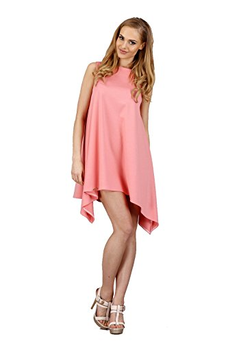 Tunique elomoda mini-robe asymétrique taille 36 38 40 42, en 7 couleurs m46 SAUMON