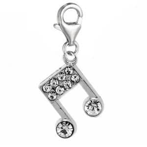 Diamond studded silver plated musical note pendant