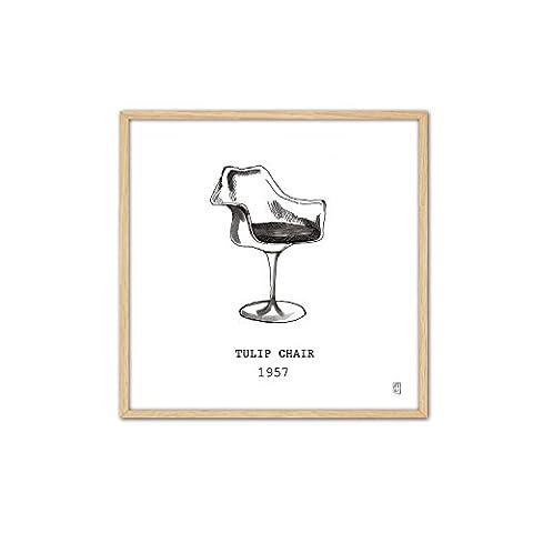 cuadriman Design Tableau Tulip Chair, bois, blanc et noir, 62x 62cm