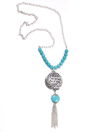 Remi Bijou - Ethno Statement Lange Halskette mit grossem Anhänger - Rund Stein Allah Muslim Islam - Türkis blau Perlen Silber Farbe