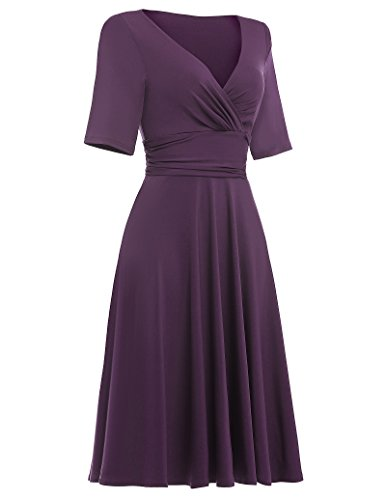 Belle Poque Damen Elegant Sommerkleid Knielang kurzarm Partykleider Cocktailkleider Violett