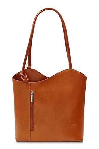 LiaTalia Damen großartige weiche italienische Leder Piping Detail Schulter oder Rucksack Tasche mit Schutztasche - Libby z** (Nicht Piping) - Leicht gebräunt -