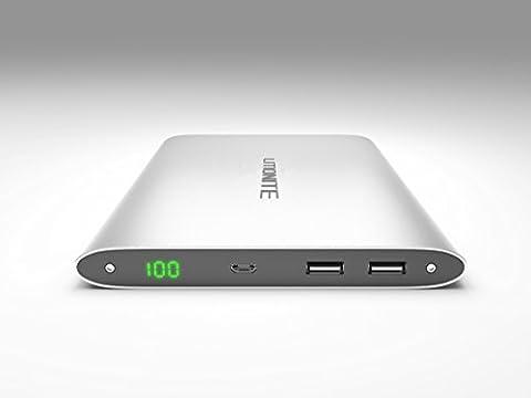 Litionite® Plasma 20000mAh Power Bank Batterie Externe en Aluminium Portable Chargeur avec Double USB - Ultra Mince Haute Capacité Universel Touch Screen avec affichage Led - Conception Design et style moderne pour tous les modèles de tablet et smartphone
