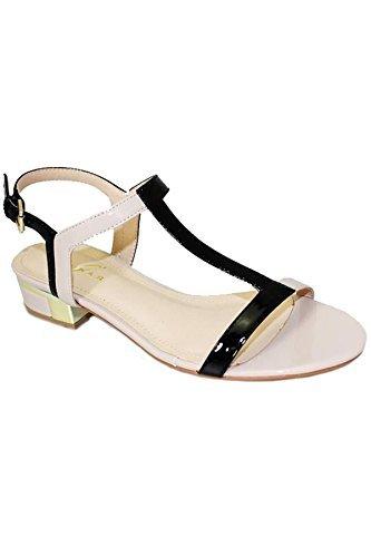 Sapphire Boutique by Sapphire Zafiro Boutique Mujer Pequeño Plataforma Cadena de Oro Color Contraste Mocasín Sin Cordones Mocasín - Azul/Blanco, 7 UK