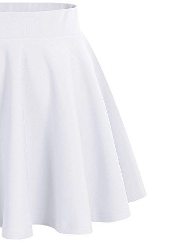 Dresstells Damen Basic Solide vielseitige Dehnbar Informell Mini Glocken Rock White