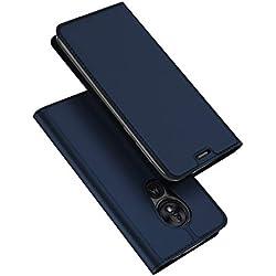 DUX DUCIS Coque Moto G7 Play, Premium Étui de Protection [Stand Support] [Porte-Cartes de Crédit] [Fermeture Magnétique] TPU Bumper Housse en Cuir pour Motorola Moto G7 Play (Bleu Profond)