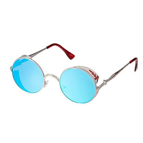 Ultra Silber mit Eisblauen Gläsern Steampunk Sonnenbrille Retro Damen Herren Rund Rave Gothic Vintage Victorian Kupfer UV400 Schutz Metall Unisex Kreisbrille