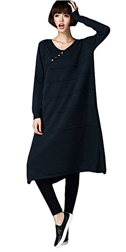 Vogstyle Donna Girocollo Manica Lunga Maglione Vestito Stile-6 Blu