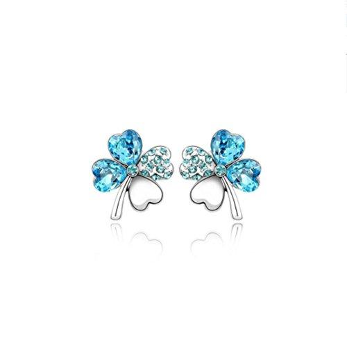 Erica Cristal Plaqué Or Sparkling autrichienne trèfle à quatre feuilles Boucles d'oreilles pour Femmes Filles dark blue