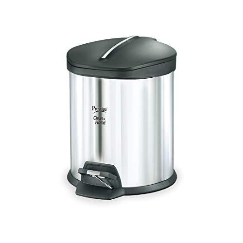 Prestige Stainless Steel Flip Bin, 12-litres, Silver/Black