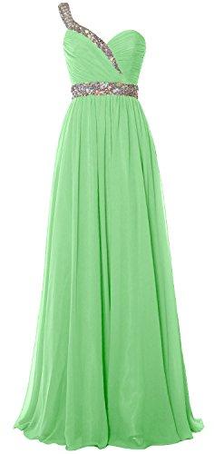 MACloth Elegant One Shoulder Long Prom Dress 2018 Chiffon Evening Formal Gown Menthe