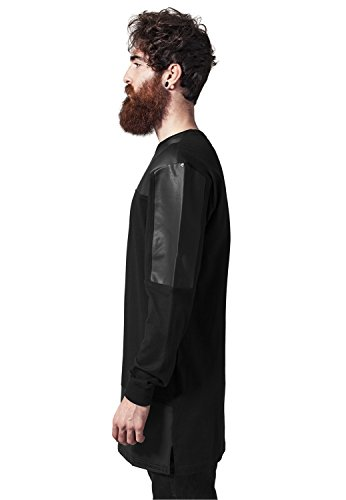 Leather Imitation Block Longsleeve black-black