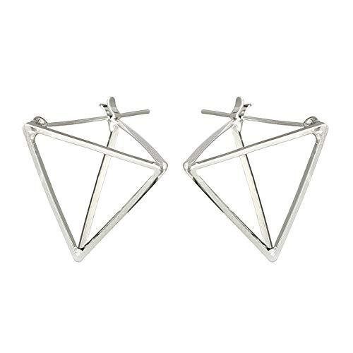 Andouy 1 Paar Hochwertige Mode Einfachen Quadratischen Kreis Wort Ohrring Für Frauen(Silber) -