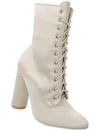 Damen Schuhe Stiefeletten Elegante Spitze Ankle Boots High Heels Fashion Party  Booties Schnürstiefel 36-41 c46c12b36d