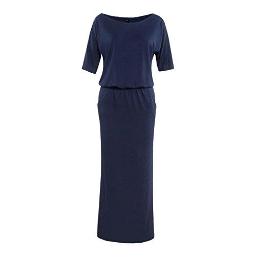 Robe Femmes,Kshion®Femmes été Long BOHO Maxi robe avec poche en soirée bleu marin
