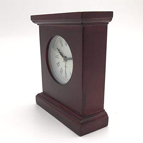 YAJU Reloj de Chimenea Reloj de péndulo de Cuarzo, Rectangular sólida Madera...