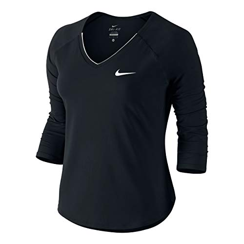 Nike Damen Pure 3QT Shirt, Black White, M